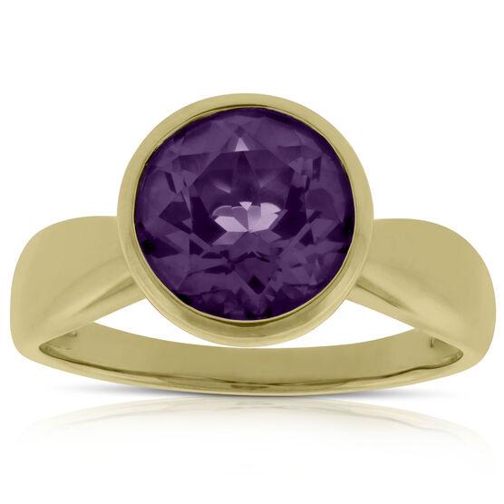 Bezel Set Amethyst Ring 14K