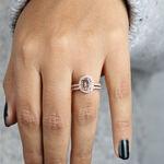Rose Gold Morganite & Diamond Halo Bridal Set 14K