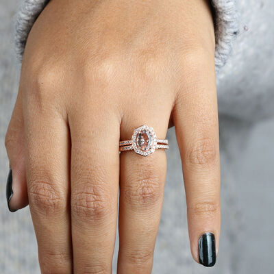 Rose Gold Morganite & Diamond Halo Bridal Set 14K