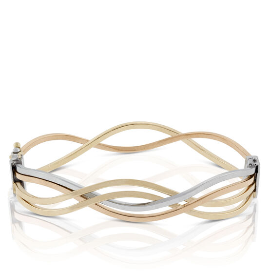 Toscano Tri-Color Wave Bangle Bracelet 18K
