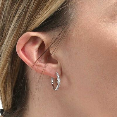 Scattered Baguette & Round Diamond Hoop Earrings 14K
