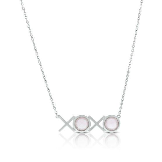 Lisa Bridge Bezel Set Rose Quartz XOXO Necklace
