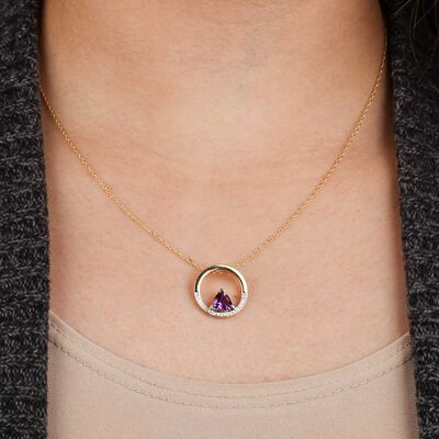 Trillion Amethyst & Diamond Circle Pendant 14K