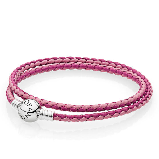 PANDORA  Mixed Pink Double Leather Bracelet