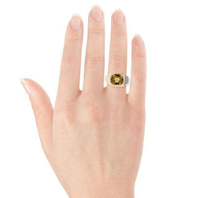 Cushion Citrine & Diamond Ring 14K