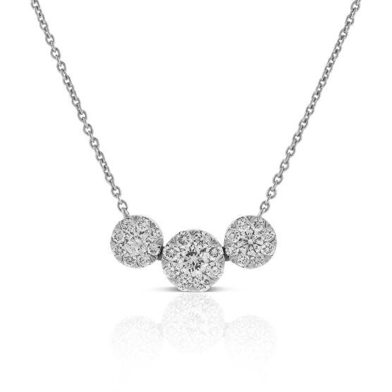Three Circle Station Diamond Necklace 14K
