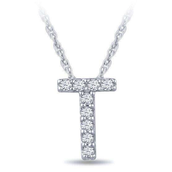 Diamond Initial Pendant 14K Letter 'T'