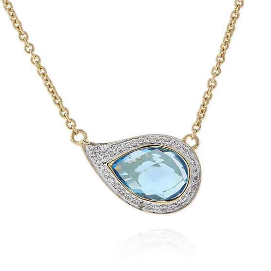 Blue & White Topaz Necklace 14K
