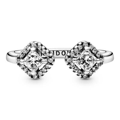 Pandora Square Sparkle Open CZ Ring