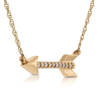 Diamond Arrow Necklace 14K