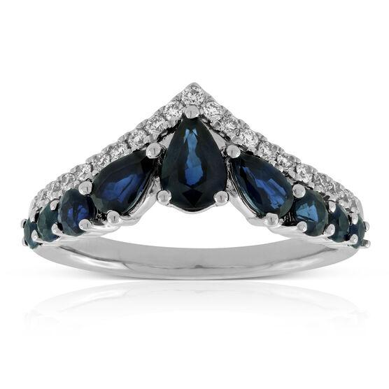 Sapphire & Diamond Chevron Ring 14K