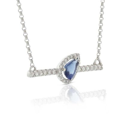 Slanted Pear-Shaped Sapphire & Diamond Bar Necklace 14K