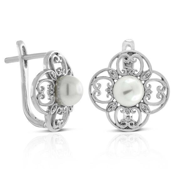Freshwater Cultured Pearl & Diamond Filigree Earrings 14K