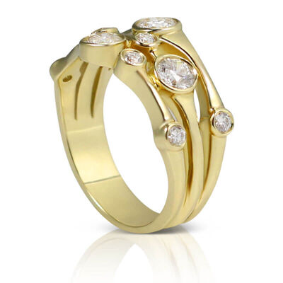 3-Row Bezel Set Diamond Ring 14K