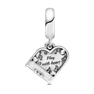Pandora Grand Piano Heart Enamel Dangle Charm