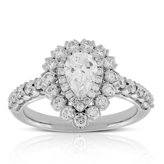 Double Halo Pear Diamond Ring 14K