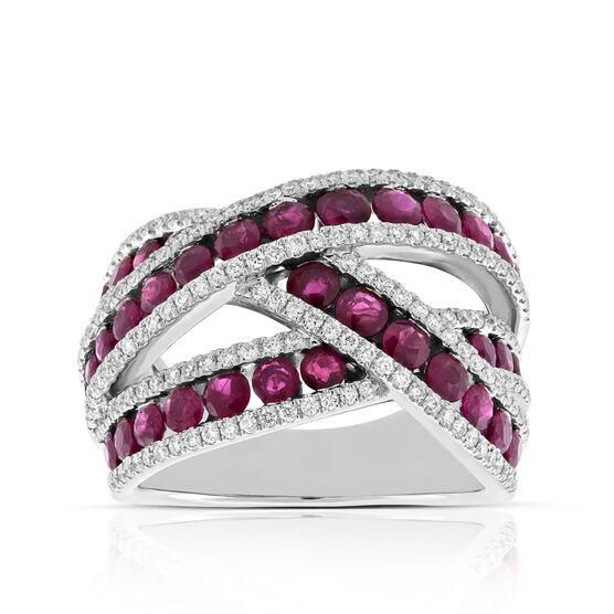 Ruby & Diamond Cross Over Ring 14K