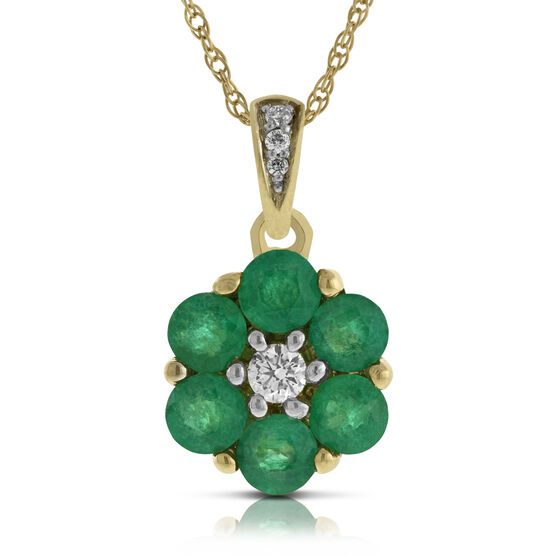 Emerald & Diamond Flower Pendant 14K