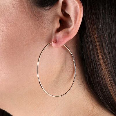 Rose Gold Endless Hoop Earrings 14K
