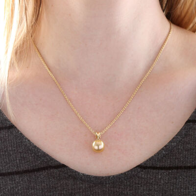 Cultured Golden South Sea Pearl Pendant 11mm, 18K