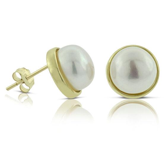 Cultured Freshwater Button Pearl Earrings 14K