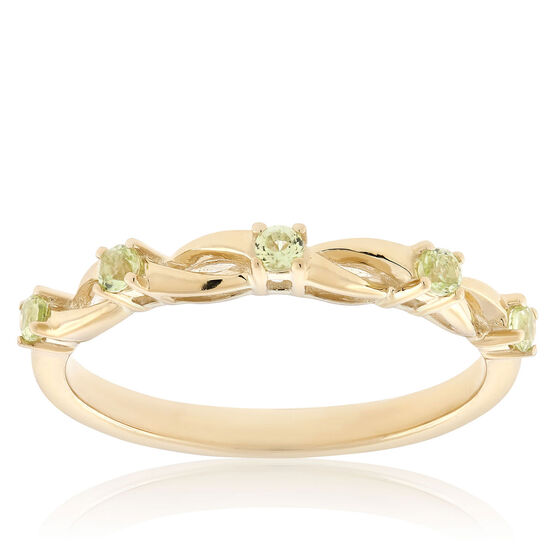 Peridot Open Twist Band 14K