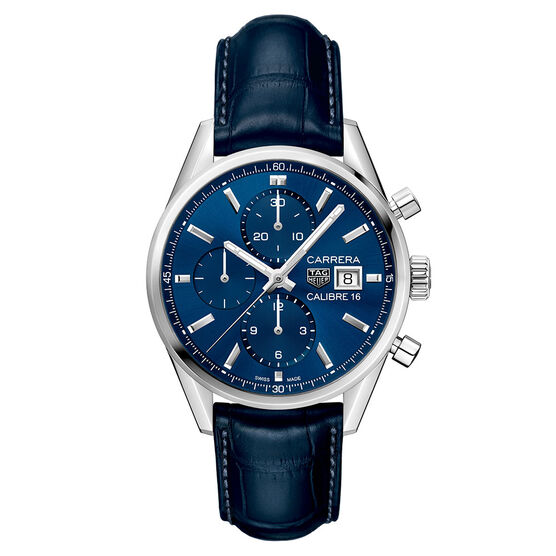 TAG Heuer Carrera Calibre 16 Automatic Mens Blue Alligator Chronograph Watch