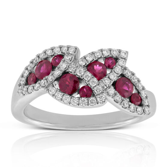 Ruby & Diamond Halo Leaf Ring 14K