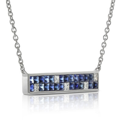 Sapphire & Diamond Mosaic Bar Necklace 14K