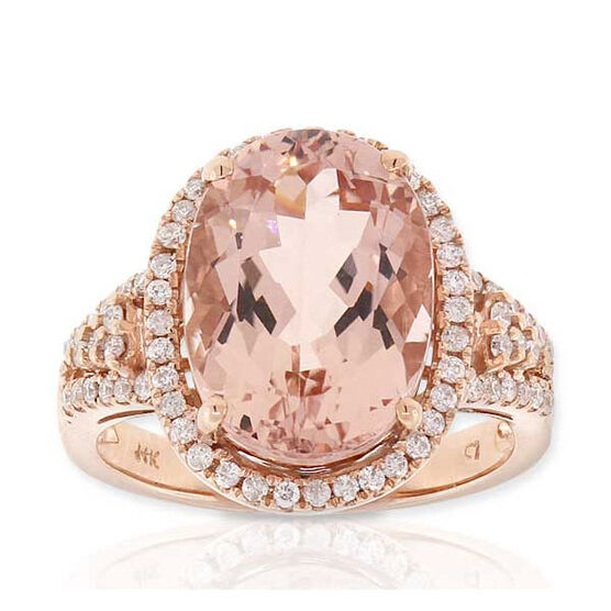 Rose Gold Morganite & Diamond Ring 14K
