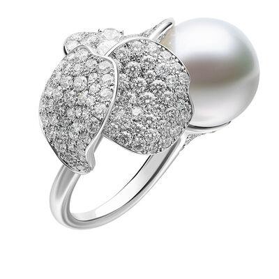 Mikimoto Akoya Cultured Pearl & Diamond Ring 18K, 8.5mm