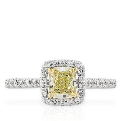 Radiant Cut Yellow Diamond Halo Ring 14K, .59 ct. Center