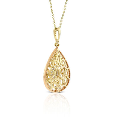Pear Shaped Center Diamond Cluster Filigree Necklace 14K