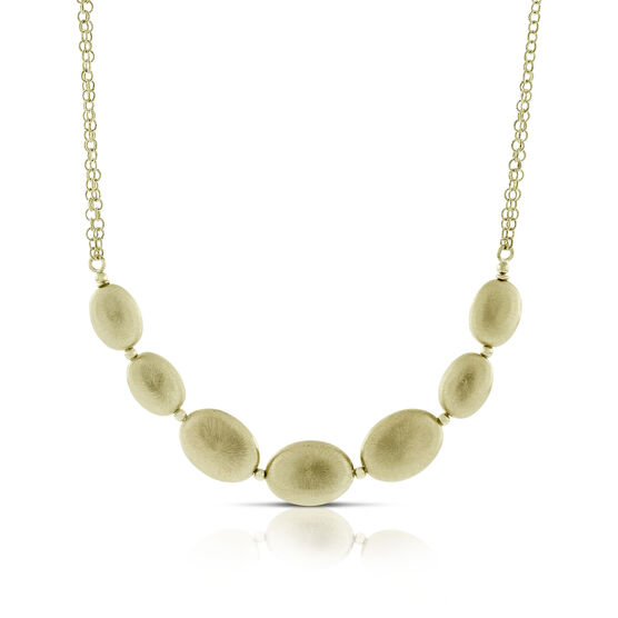 Toscano Graduated Satin Bead Necklace 14K