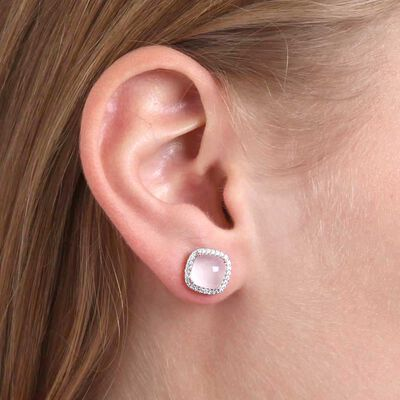 Cabochon Rose Quartz & Diamond Earrings 14K