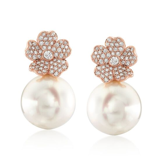 Mikimoto Rose Gold Cultured South Sea Pearl & Diamond Cherry Blossom Earrings 18K