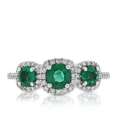 Emerald & Diamond Halo 3-Stone Ring 14K