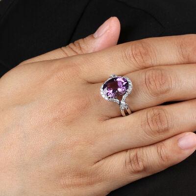 Amethyst & Diamond Halo Ring 14K