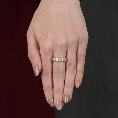 Bezel Set Oval Cut  Diamond Ring 14K