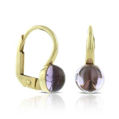 Cabochon Amethyst Earrings 14K