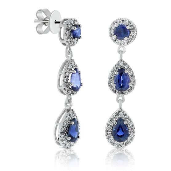 Sapphire & Diamond Drop Earrings 14K