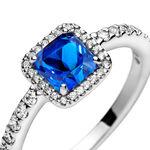 Pandora Blue Square Sparkle Halo Crystal & CZ Ring