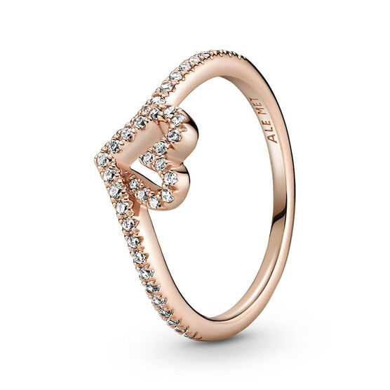 Pandora Rose™ Sparkling Wishbone Heart CZ Ring