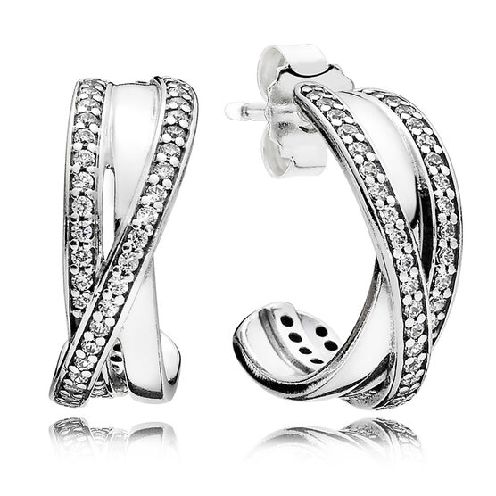 PANDORA Entwined Earrings, Clear CZ