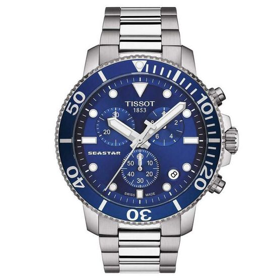 Tissot Seastar 1000 Chronograph Blue Bezel Watch, 45mm