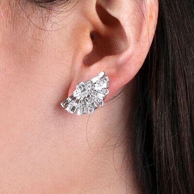 Diamond Fan Earrings 14K, 2 ctw.