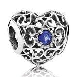 Pandora September Signature Heart Charm