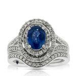 Sapphire & Diamond Bridal Set 14K
