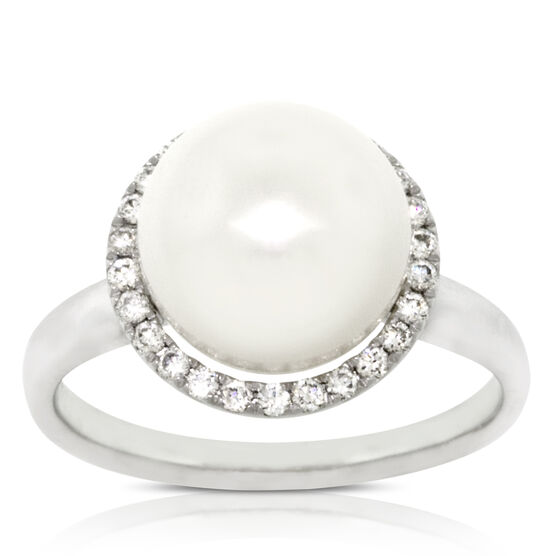 Freshwater Cultured Pearl & Diamond Ring 14K