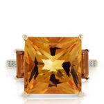 Princess Cut Citrine & Diamond Three-Stone Ring 14K
